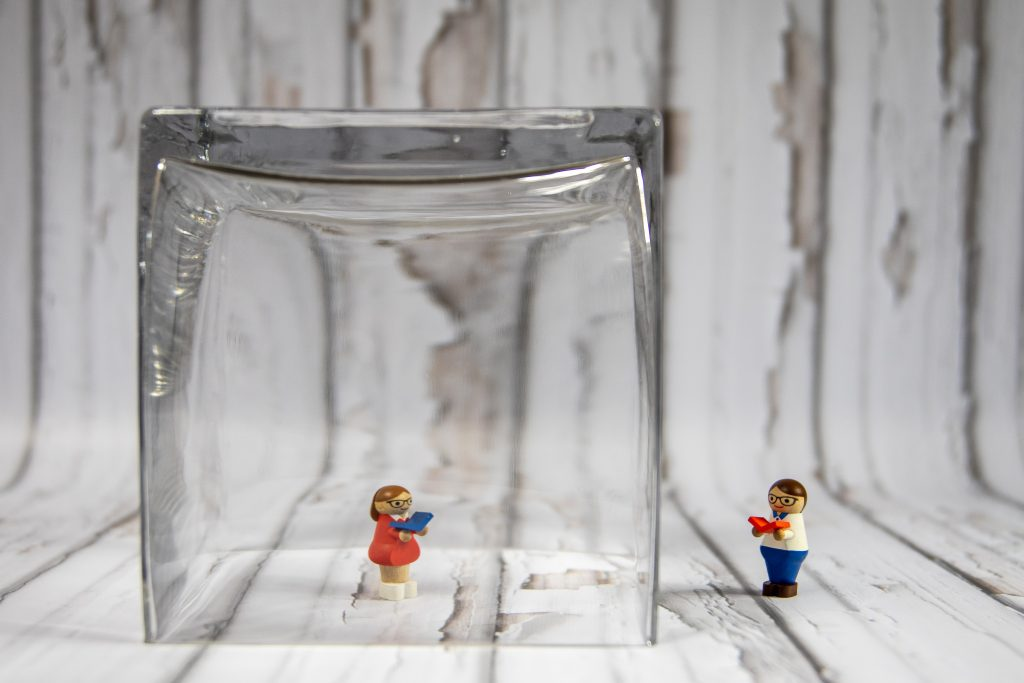 Lego toy in clear glass container quarantine